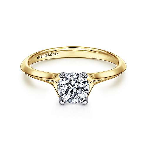 Ellis 14k Yellow And White Gold Round Solitaire Engagement Ring angle 1