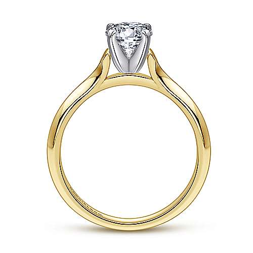 Ellis 14k Yellow And White Gold Round Solitaire Engagement Ring angle 2
