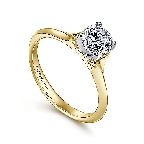 Ellis 14k Yellow And White Gold Round Solitaire Engagement Ring angle 3