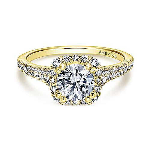 Elsa 18k Yellow Gold Round Halo Engagement Ring angle 1