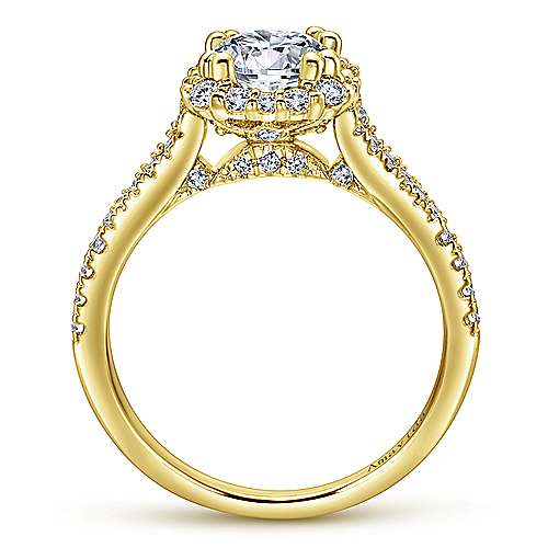 Elsa 18k Yellow Gold Round Halo Engagement Ring angle 2