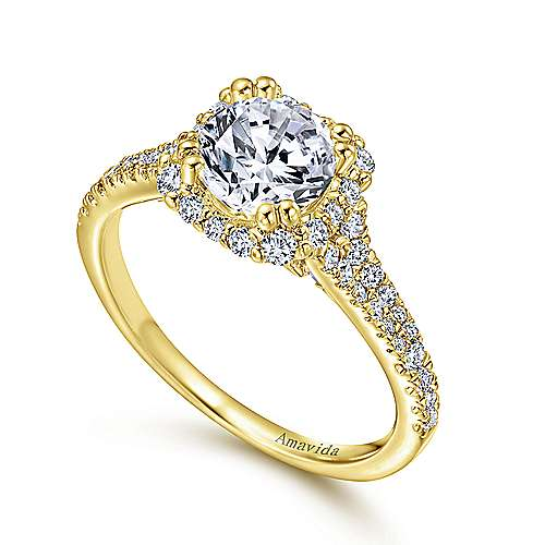 Elsa 18k Yellow Gold Round Halo Engagement Ring angle 3