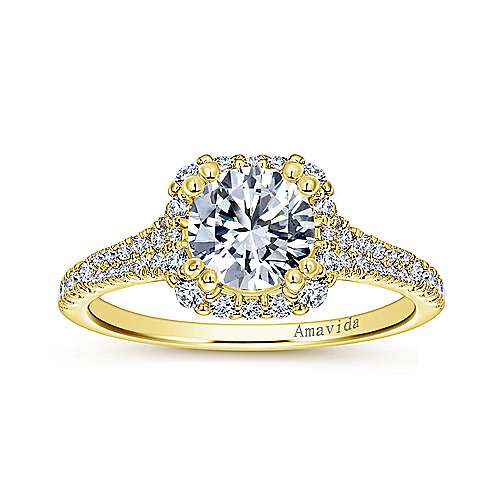 Elsa 18k Yellow Gold Round Halo Engagement Ring angle 5