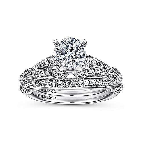Elvira 18k White Gold Round Split Shank Engagement Ring angle 4