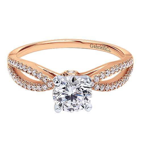 Gabriel - Elyse 14k Rose Gold Round Split Shank Engagement Ring