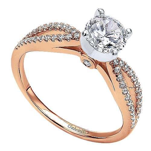 Elyse 14k Rose Gold Round Split Shank Engagement Ring angle 3