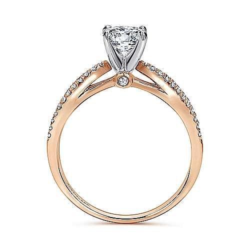 Elyse 14k White And Rose Gold Round Split Shank Engagement Ring angle 2