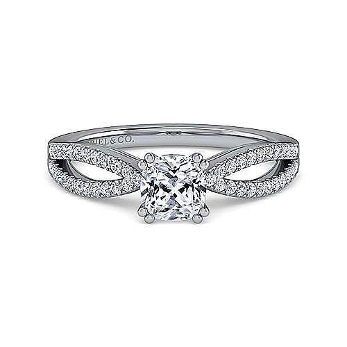 Gabriel - Elyse 14k White Gold Cushion Cut Split Shank Engagement Ring