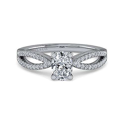 Gabriel - Elyse 14k White Gold Oval Split Shank Engagement Ring