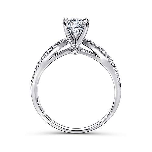 Elyse 14k White Gold Round Split Shank Engagement Ring angle 2