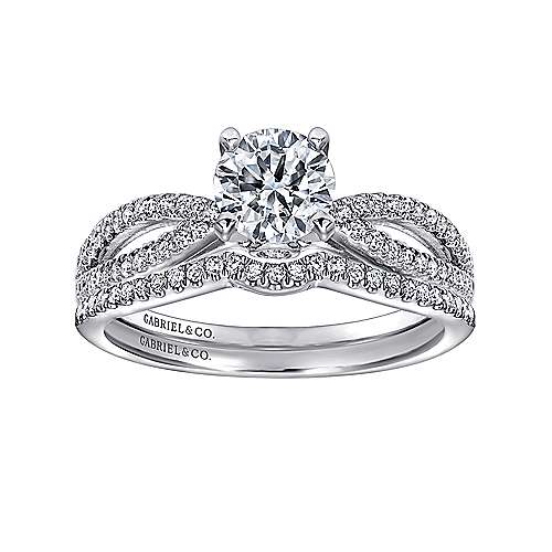 Elyse 14k White Gold Round Split Shank Engagement Ring angle 4