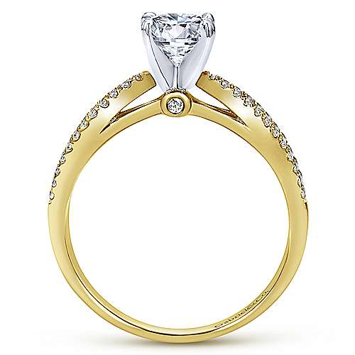 Elyse 14k Yellow And White Gold Round Split Shank Engagement Ring angle 2