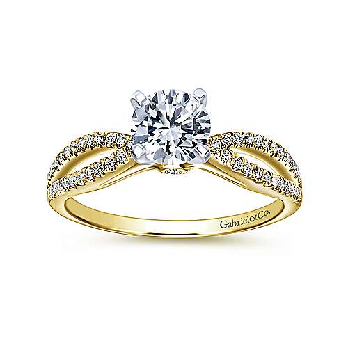 Elyse 14k Yellow And White Gold Round Split Shank Engagement Ring angle 5