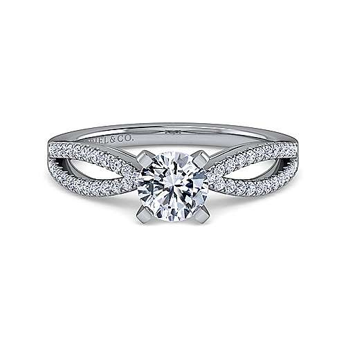 Gabriel - Elyse 18k White Gold Round Split Shank Engagement Ring