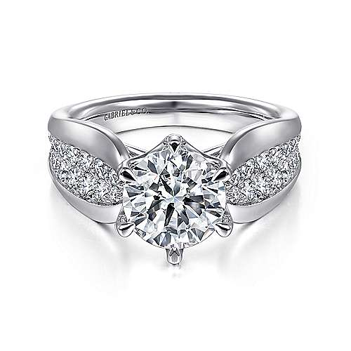 Gabriel - Ember 14k White Gold Round Straight Engagement Ring