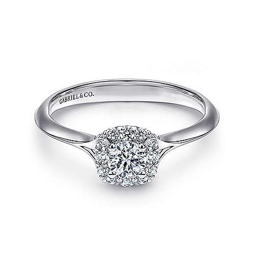 Gabriel - Embrace 14k White Gold Round Halo Engagement Ring