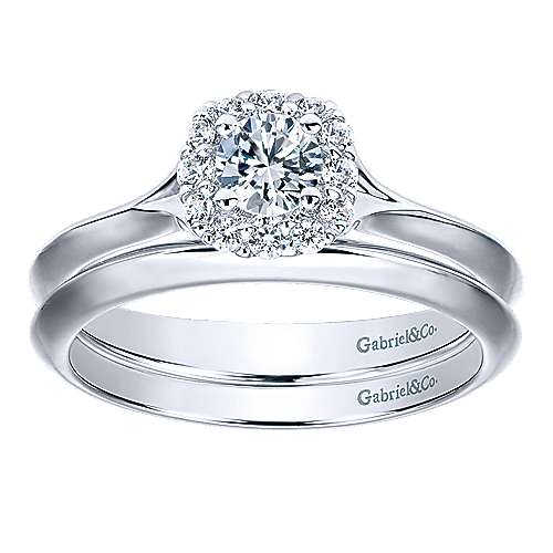 Embrace 14k White Gold Round Halo Engagement Ring angle 4