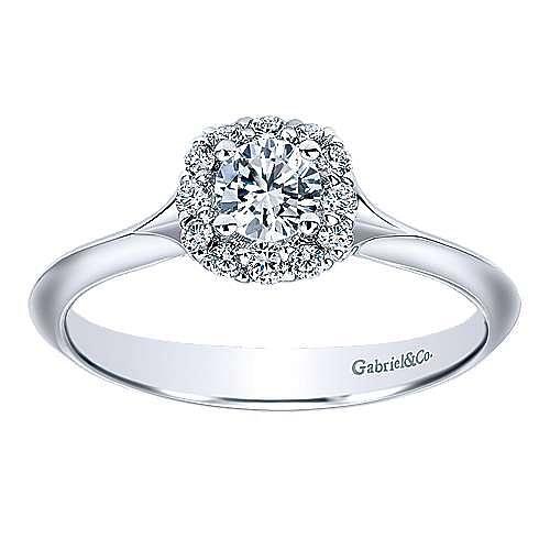Embrace 14k White Gold Round Halo Engagement Ring angle 5