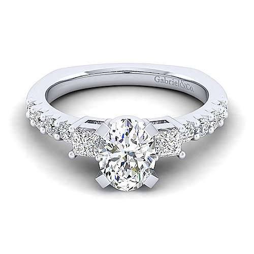 Gabriel - Emerson 14k White Gold Oval 3 Stones Engagement Ring