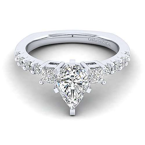 Gabriel - Emerson 14k White Gold Pear Shape 3 Stones Engagement Ring