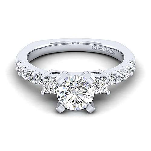 Emerson 14k White Gold Round 3 Stones Engagement Ring angle 1