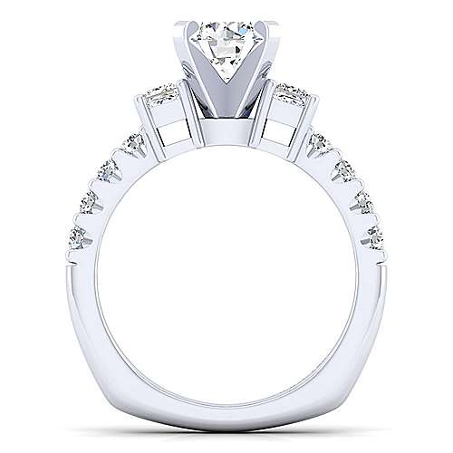 Emerson 14k White Gold Round 3 Stones Engagement Ring angle 2