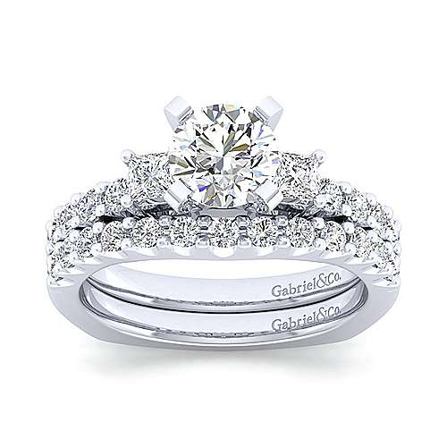 Emerson 14k White Gold Round 3 Stones Engagement Ring angle 4