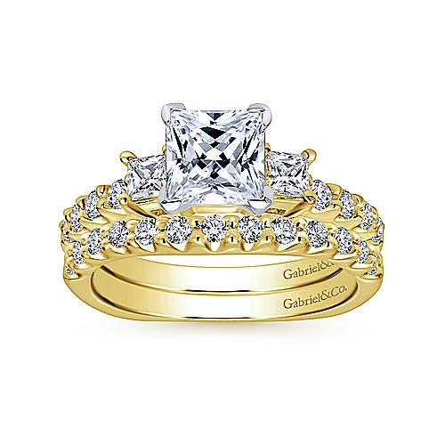 Emerson 14k Yellow And White Gold Princess Cut 3 Stones Engagement Ring angle 4