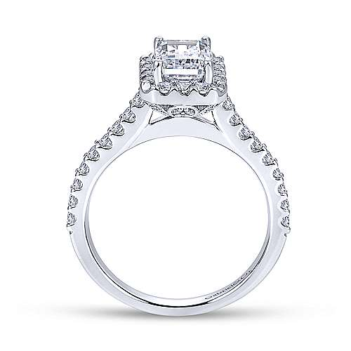 Emery 14k White Gold Emerald Cut Halo Engagement Ring angle 2