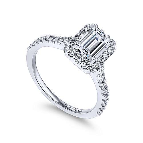 Emery 14k White Gold Emerald Cut Halo Engagement Ring angle 3