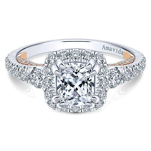Gabriel - Emmaline 18k White And Rose Gold Cushion Cut Halo Engagement Ring