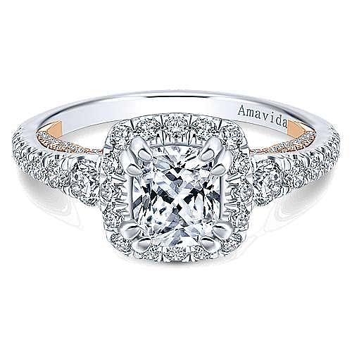 Emmaline 18k White And Rose Gold Cushion Cut Halo Engagement Ring angle 1