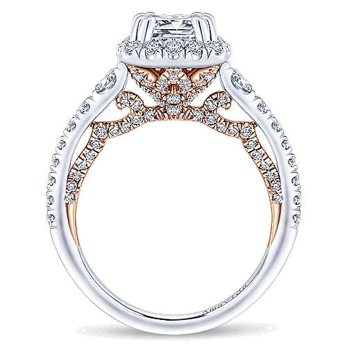 Emmaline 18k White And Rose Gold Cushion Cut Halo Engagement Ring angle 2