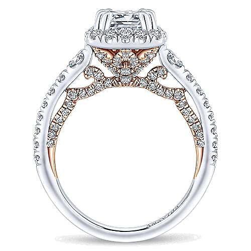 Emmaline 18k White And Rose Gold Cushion Cut Halo Engagement Ring angle 2