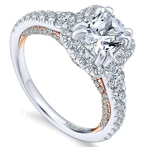 Emmaline 18k White And Rose Gold Cushion Cut Halo Engagement Ring angle 3