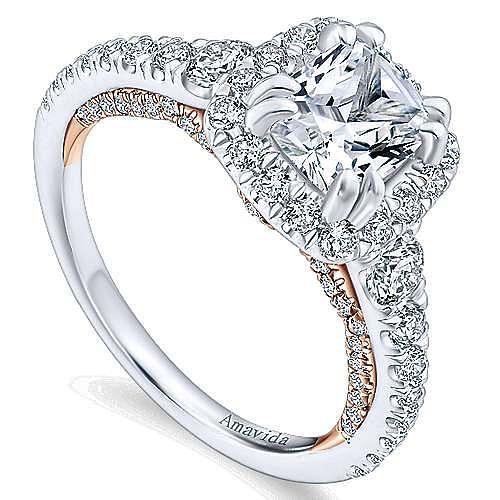 Emmaline 18k White And Rose Gold Cushion Cut Halo Engagement Ring angle 3