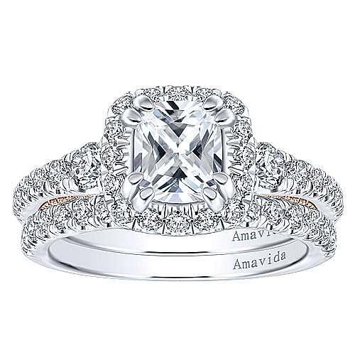 Emmaline 18k White And Rose Gold Cushion Cut Halo Engagement Ring angle 4