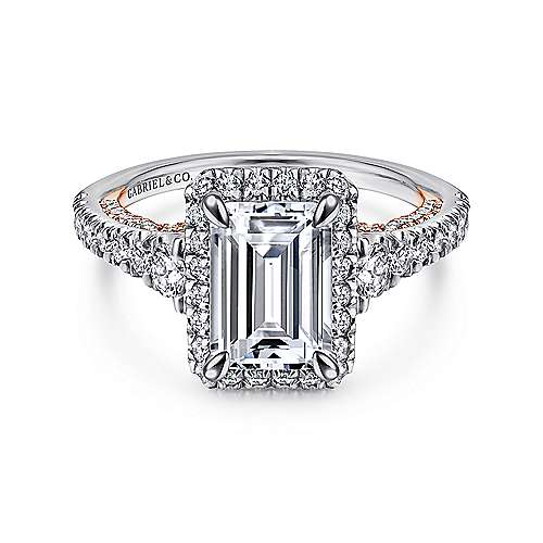 Gabriel - Emmaline 18k White And Rose Gold Emerald Cut Halo Engagement Ring