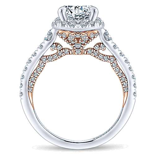 Emmaline 18k White And Rose Gold Round Halo Engagement Ring angle 2