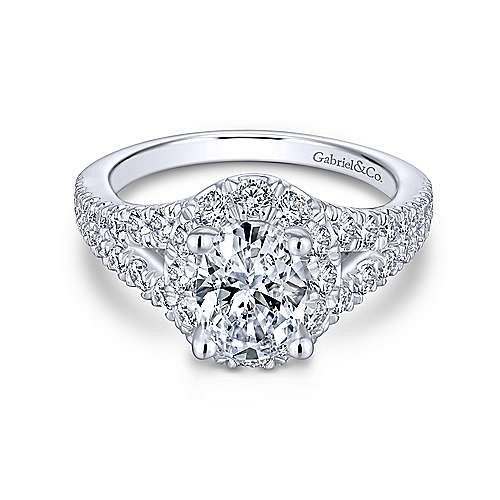 Gabriel - Emmy 14k White Gold Oval Halo Engagement Ring