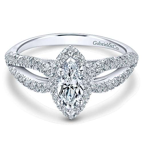Empress 14k White Gold Marquise  Halo Engagement Ring angle 1