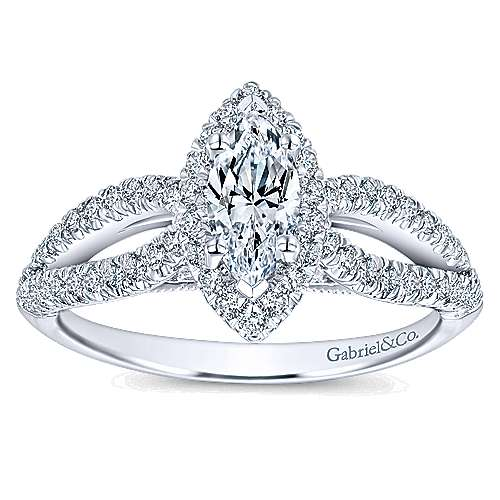 Empress 14k White Gold Marquise  Halo Engagement Ring angle 5