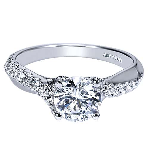 Endless 18k White Gold Round Twisted Engagement Ring angle 1