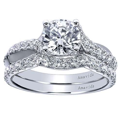 Endless 18k White Gold Round Twisted Engagement Ring angle 4