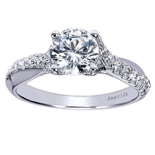 Endless 18k White Gold Round Twisted Engagement Ring angle 5