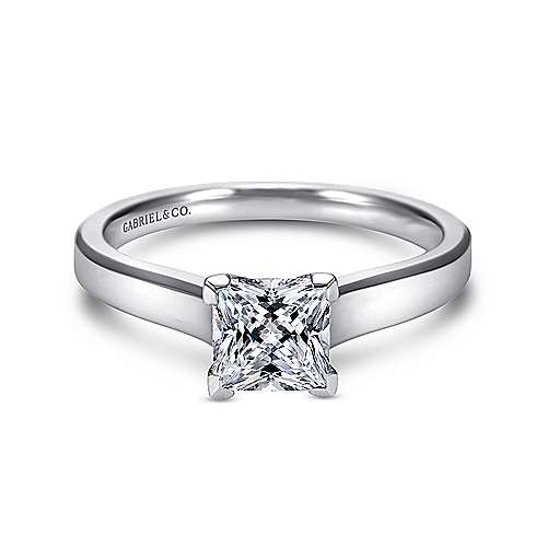 Enid 14k White Gold Princess Cut Solitaire Engagement Ring angle 1