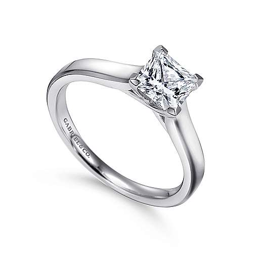 Enid 14k White Gold Princess Cut Solitaire Engagement Ring angle 3
