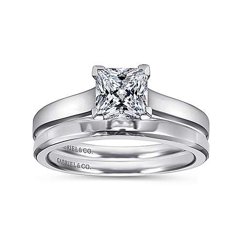 Enid 14k White Gold Princess Cut Solitaire Engagement Ring angle 4