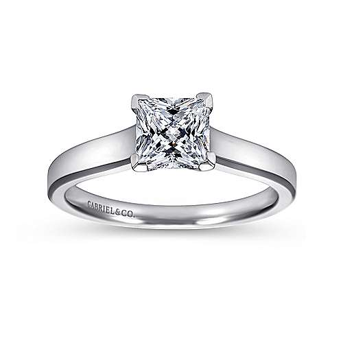 Enid 14k White Gold Princess Cut Solitaire Engagement Ring angle 5