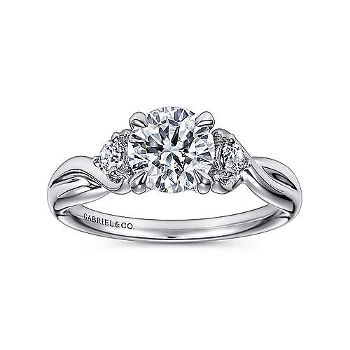Enlightened 18k White Gold Round Twisted Engagement Ring angle 5